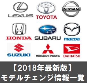2018年の新型車、モデルチェンジ最新情報